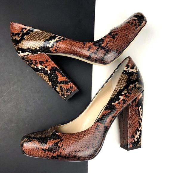 a34667ce6eaab Nine West Square Toe Chunky Heel Snake Pumps. M_5b92a59eaaa5b822c4091f0f